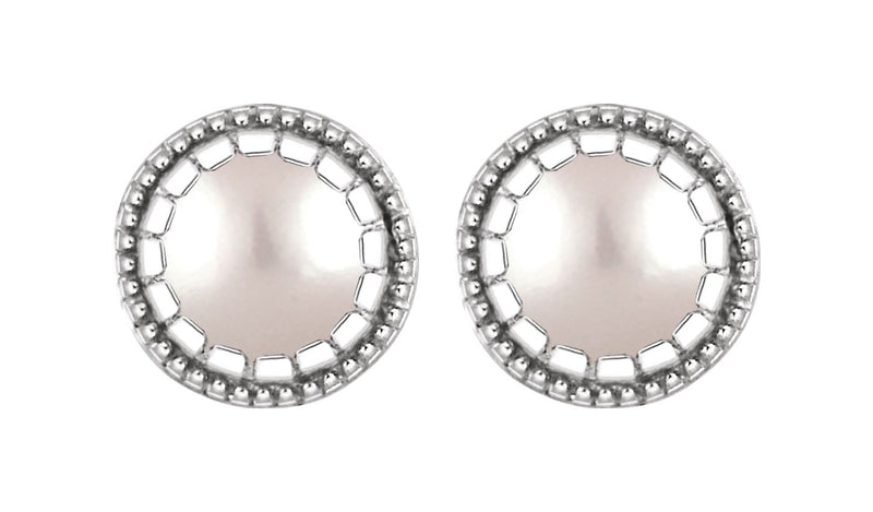 "14K White Freshwater Cultured Pearl ""June"" Birthstone Earrings"