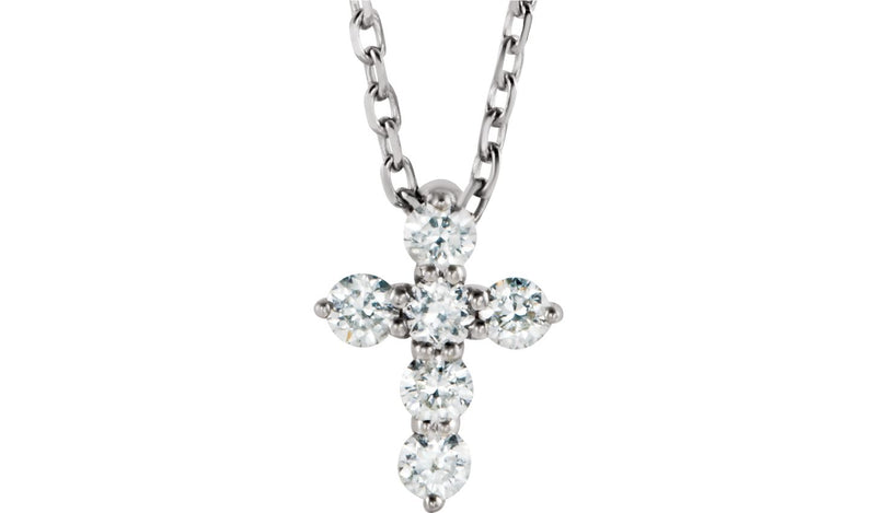"Sterling Silver 1/6 CTW Diamond Cross 16-18"" Necklace"