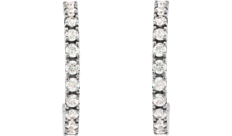 14K White 1 5/8 CTW Diamond Hoop Earrings