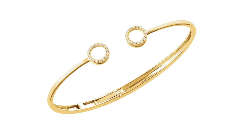 "14K Yellow Gold 1/6 CTW Diamond Circle Hinged Cuff 7"" Bracelet"