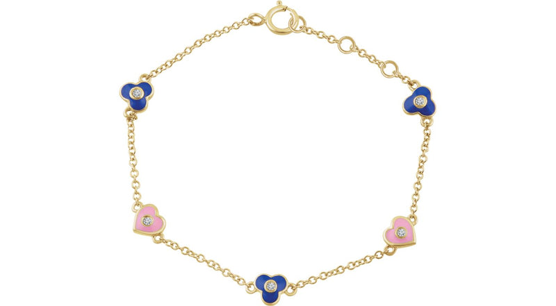 "14K Yellow Gold .04 CTW Diamond Flowers & Hearts 5-7"" Bracelet"
