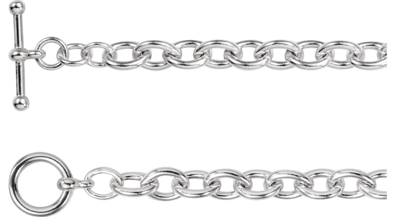 "Sterling Silver Cable 6.5"" Bracelet with Toggle Clasp"