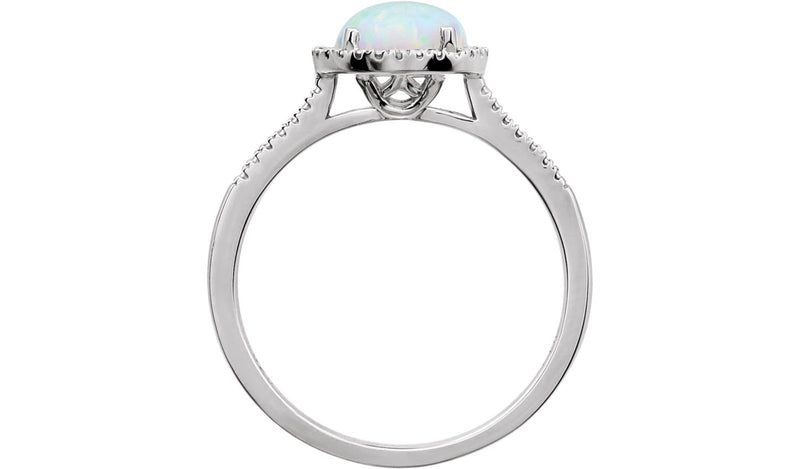 Sterling Silver Created Pink Opal & .01 CTW Diamond Ring