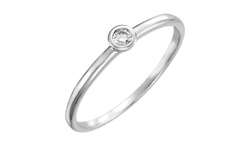 14K White .06 CTW Diamond Ring