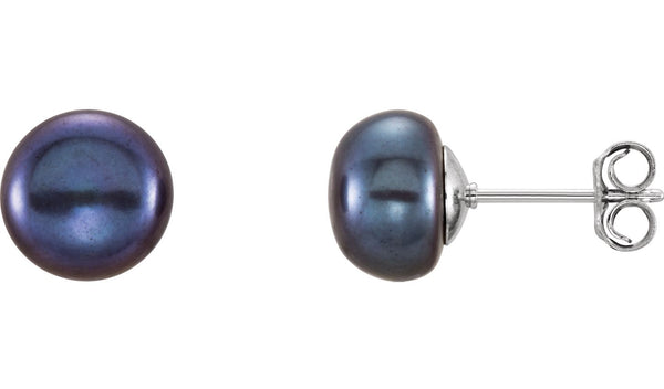 Sterling Silver 8-9 mm Black Freshwater Cultured Pearl Earrings