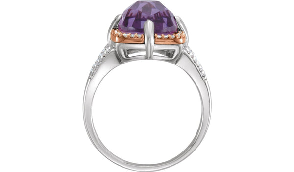14K Rose Gold-Plated Sterling Silver Amethyst & 1/5 CTW Diamond Ring Size 7
