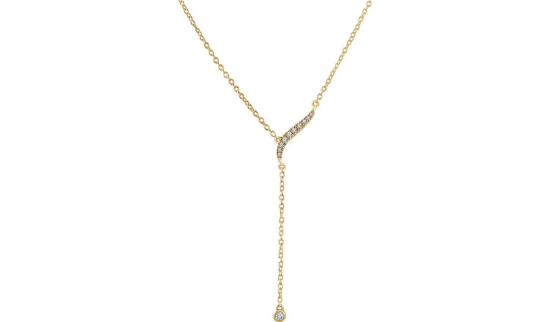 "14K Yellow 1/10 CTW Diamond Y 16-18"" Necklace"
