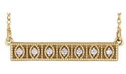"14K Yellow .06 CTW Diamond Milgrain Bar 16-18"" Necklace"