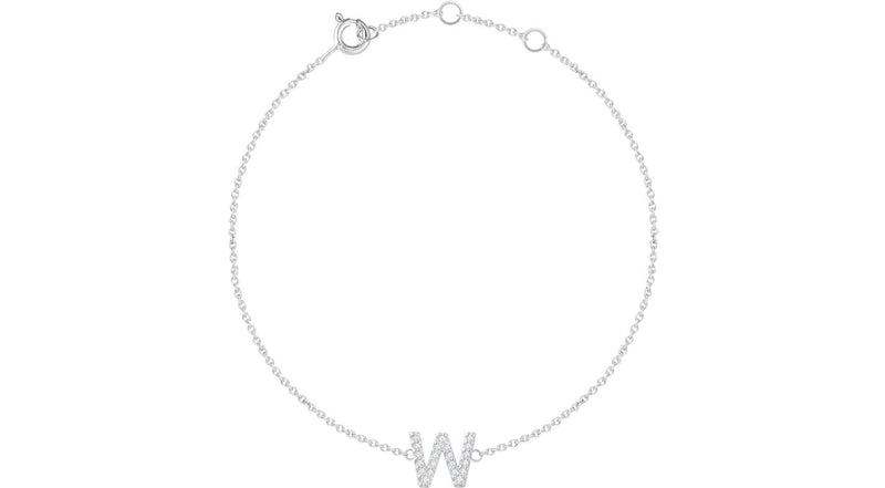 "14K White Gold .07 CTW Diamond Initial ""W"" 6-7"" Bracelet"