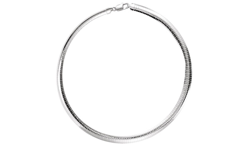 "Sterling Silver 7.25 mm Domed Omega 16"" Chain"