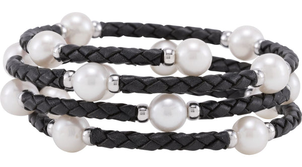 "Sterling Silver 8-8.5 mm Freshwater Cultured Pearl 24"" Wrap Bracelet"