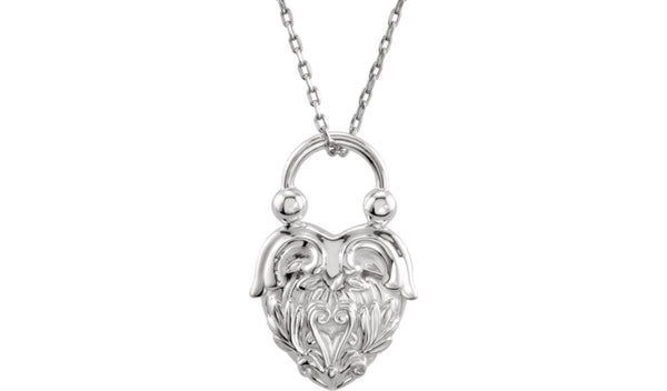 "Sterling Silver Vintage-Inspired Heart 18"" Necklace"