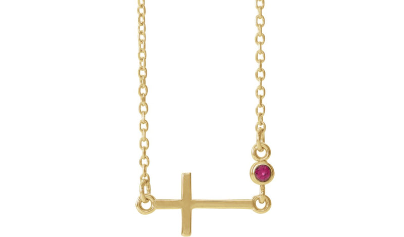 "14K Yellow Ruby Sideways Accented Cross 16-18"" Necklace"