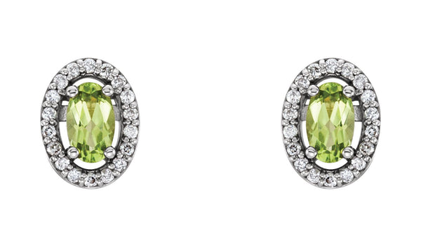 14K White Peridot & .08 CTW Diamond Earrings