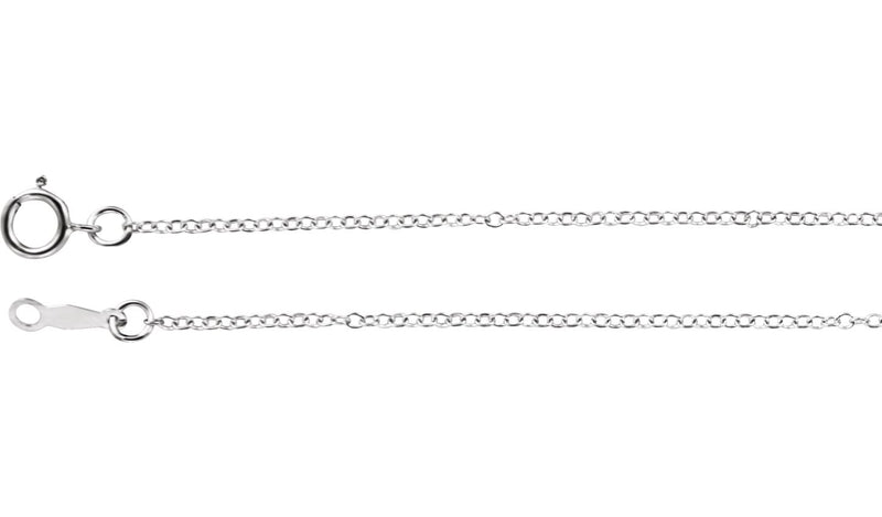 "18K White 1.3 mm Cable 20"" Chain"