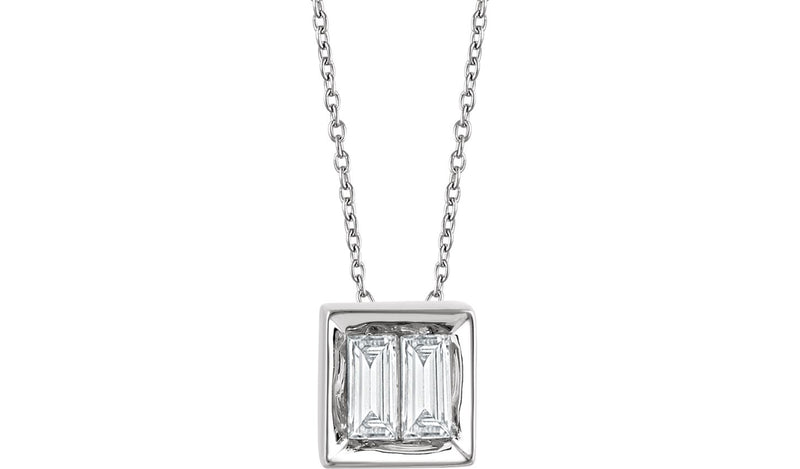 "14K White 1/4 CTW Diamond Baguette 16-18"" Necklace"