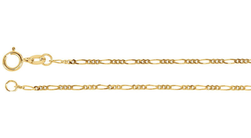 "14K Yellow Gold 1.25 mm Figaro 7"" Chain"