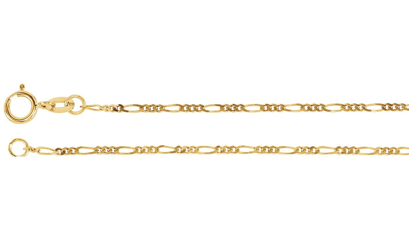 "14K Yellow 1.25 mm Figaro 20"" Chain"