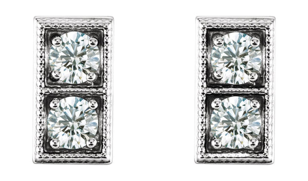 14K White 1/5 CTW Diamond Two-Stone Earrings