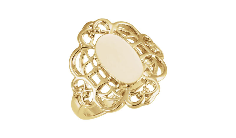 14K Yellow 10.7x6.5 mm Oval Filigree-Design Signet Ring - THE LUSTRO HUT