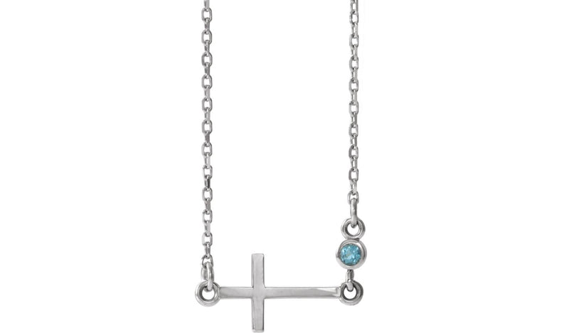 "14K White Aquamarine Sideways Accented Cross 16-18"" Necklace"