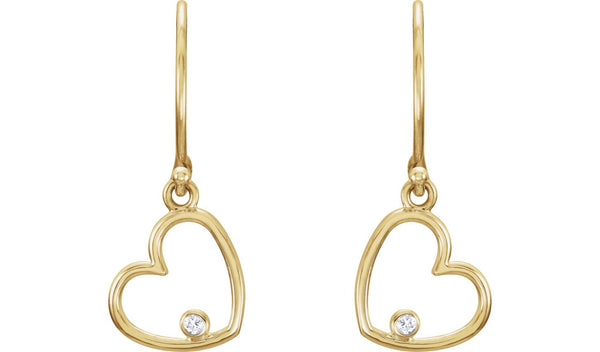 14K Yellow .03 CTW Diamond Heart Earrings