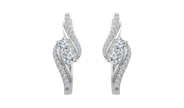14K White 5/8 CTW Diamond Earrings