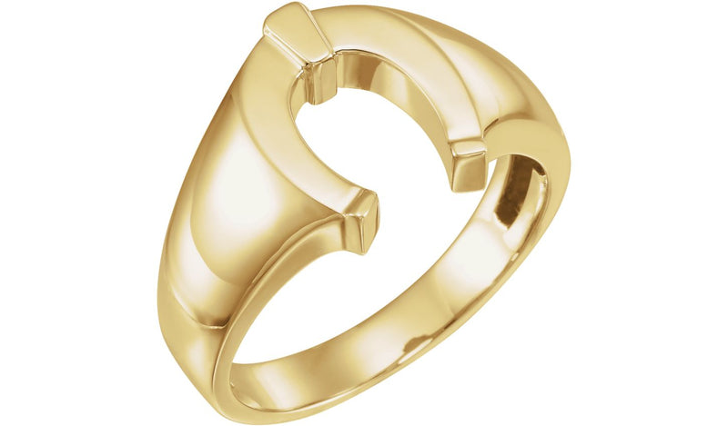 14K Yellow Men's Horseshoe Ring