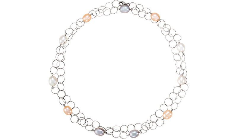 "Sterling Silver Freshwater Multi-Colored Pearl 40"" Necklace"