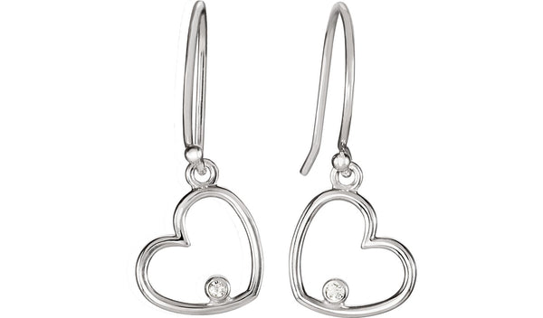 14K White .03 CTW Diamond Heart Earrings