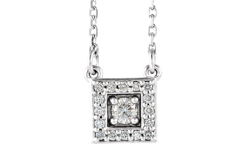 "14K White 1/8 CTW Diamond Halo-Style Square 16-18"" Necklace"