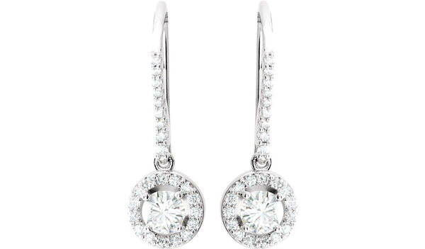 14K White 1 CTW Diamond Halo-Style Earrings