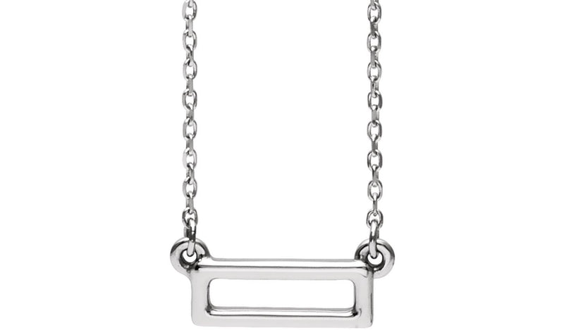 "14K White Rectangle Bar 16-18"" Necklace"