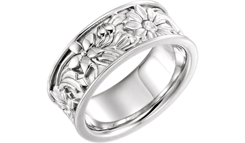 14K White 8.5 mm Floral-Inspired Band Size 7