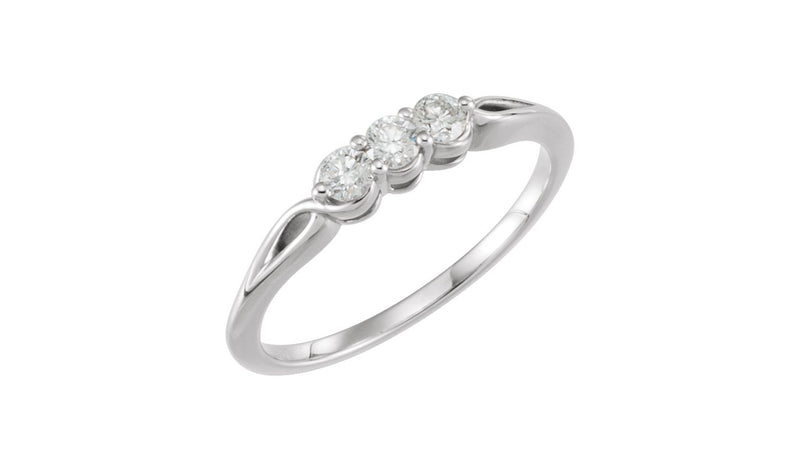14K White 1/4 CTW Diamond Three-Stone Ring