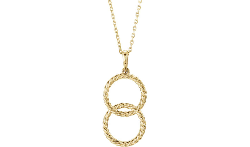 "14K Yellow Interlocking Circle 16-18"" Necklace"