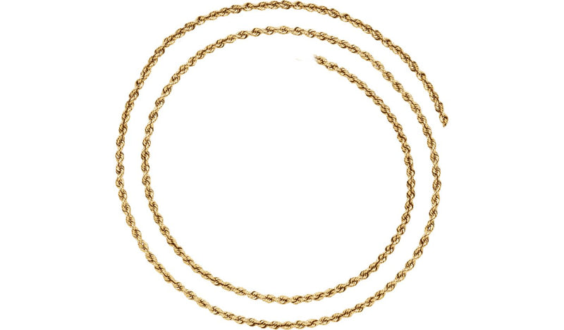 "14K Yellow 2.5 mm Rope 18"" Chain - THE LUSTRO HUT"