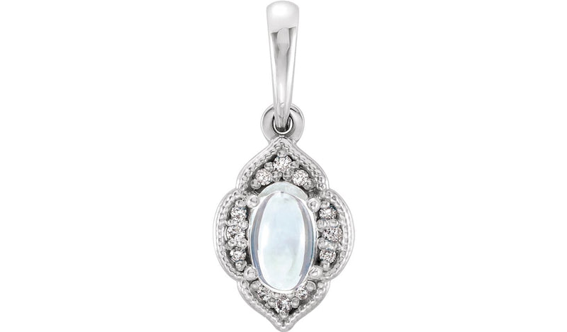 14K White Rainbow Moonstone & .03 CTW Diamond Clover Pendant