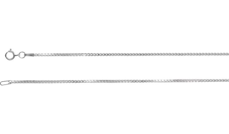 "14K White 1.3 mm Diamond Cut Box 16"" Chain with Spring Ring"