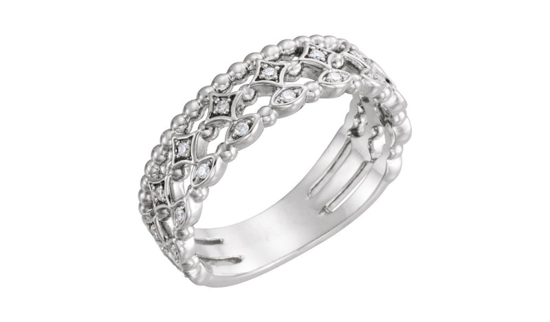 14K White 1/8 CTW Stackable Diamond Ring