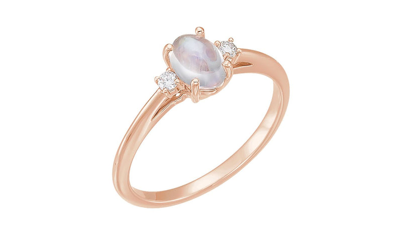 14K Rose Rainbow Moonstone & .06 CTW Diamond Ring - THE LUSTRO HUT