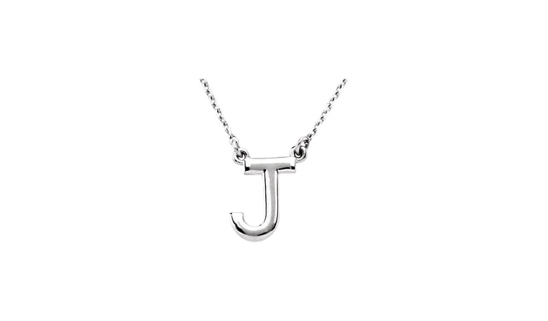 "Sterling Silver Letter ""J"" Block Initial 16"" Necklace"