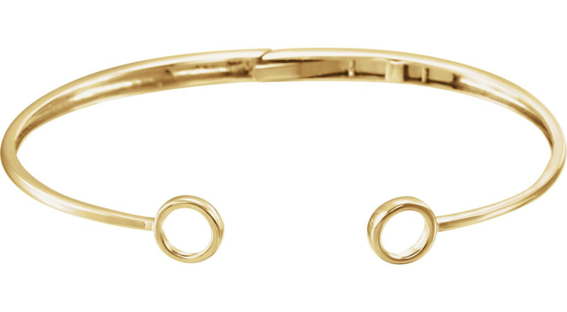 "14K Yellow Gold Hinged Circle Cuff 7"" Bracelet"