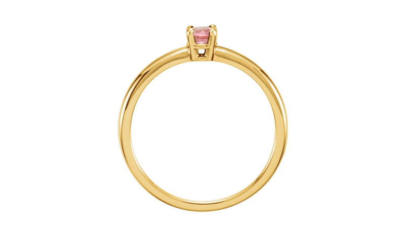 "14K Yellow Imitation Pink Tourmaline ""October"" Youth Birthstone Ring"