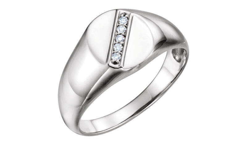 Sterling Silver .08 CTW Diamond Men's Oval Signet Ring