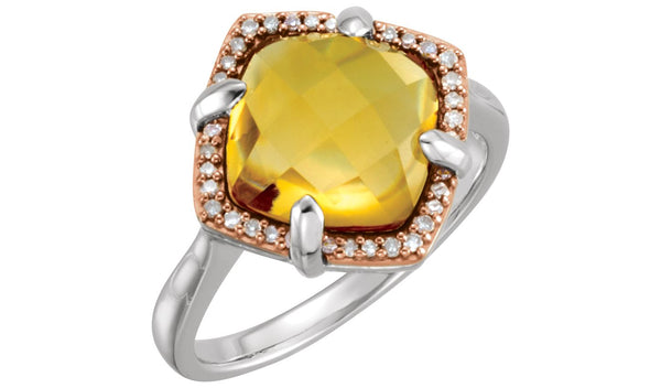 14K Rose Gold-Plated Sterling Silver Citrine & 1/8 CTW Diamond Ring Size 7