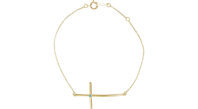 14K Yellow Gold Blue Zircon Sideways Cross Bracelet