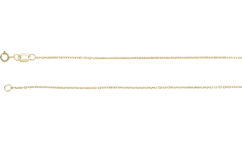 "10K Yellow 1 mm Diamond Cut Cable 18"" Chain"