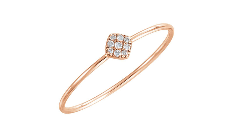 14K Rose 1/8 CTW Diamond Petite Square Ring