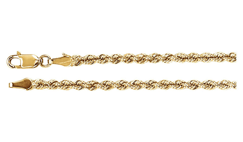 "14K Yellow 3 mm Rope 18"" Chain"